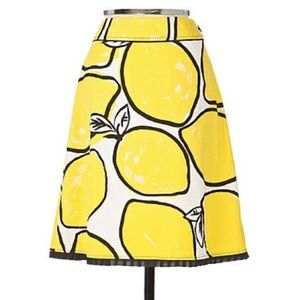 Odille Anthropologie lemon print cotton skirt NEW
